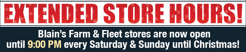 Stores now open until 9 PM every Saturday & Sunday until Christmas!