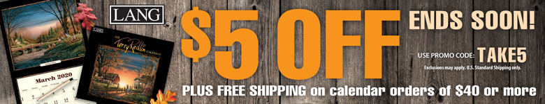 Get $5 Off and FREE SHIPPING with any $40+ Calendar Purchase! Use Code TAKE5