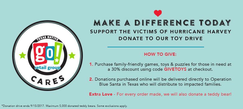 Buy a toy at 30% Off to donate to families affected by Hurricane Harvey.