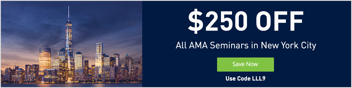 Take $250 OFF any Seminar in New York