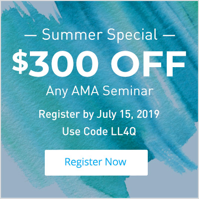 Take $300 off any AMA Seminar