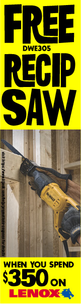 FREE DWE305 Recip Saw when you spend $350 on Lenox Products