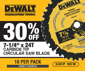 "30% OFF a 7-1/4"" x 24T Carbide Tip Circular Saw Blade 10-Pack"