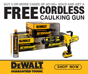 Buy 5 or More Cases (60 Tubes) of AC100+ Gold and get a FREE Cordless Caulking Gun