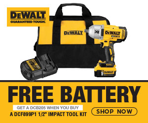 "FREE DCB205 20V MAX Battery when you buy a DCF899P1 1/2"" Impact Tool Kit"