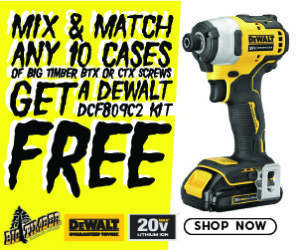 Mix & Match any 10 cases of Big Timber BTX or CTX screws and get a DeWalt DCF809C2 Impact Driver Kit for FREE. Click Here for Details.