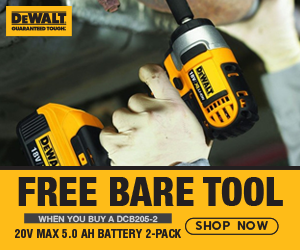 FREE DeWalt 20V MAX Bare Tool When You Buy a DCB205-2 20V MAX 5.0aH Battery 2-Pack